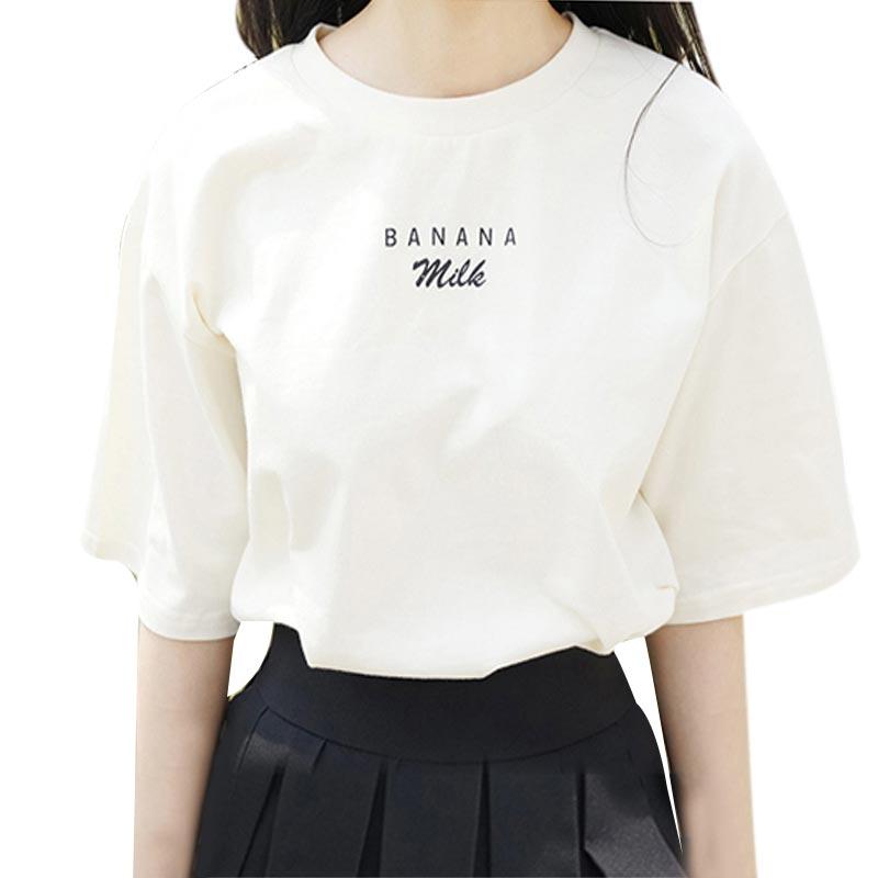 Summer Women's Fashion 2018 tshirts Cotton Women Casual Banana Strawberry Milk Letter Printed Short Sleeved Tee Camisa Feminina