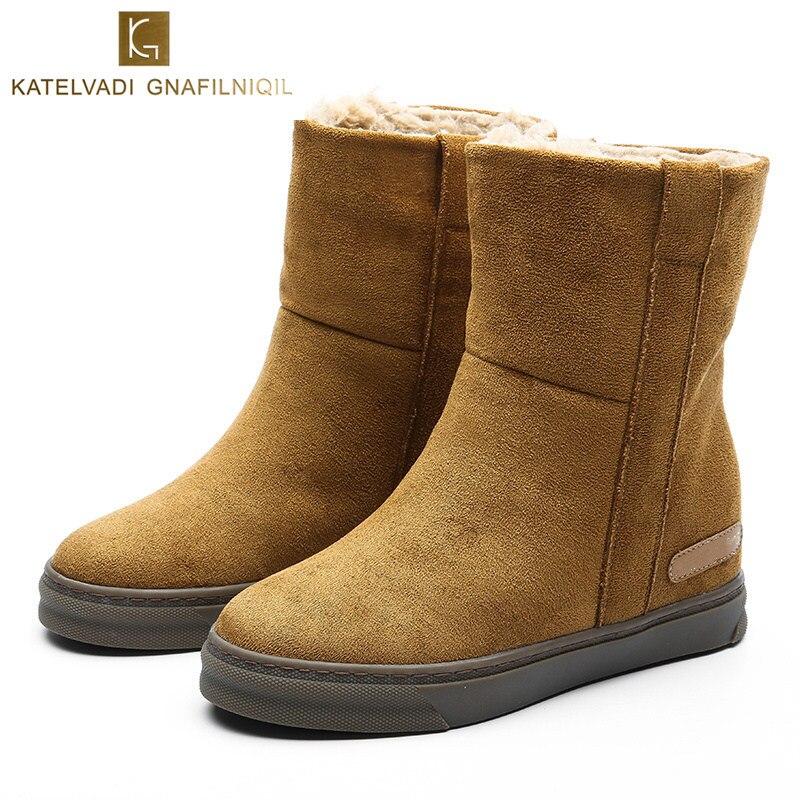 新しい女性の雪のブーツの毛皮豪華な靴女性フラット足首の女性ラウンドトウブラウンウォーム冬のブーツの女性ブーツ K 176  グループ上の 靴 からの アンクルブーツ の中 1