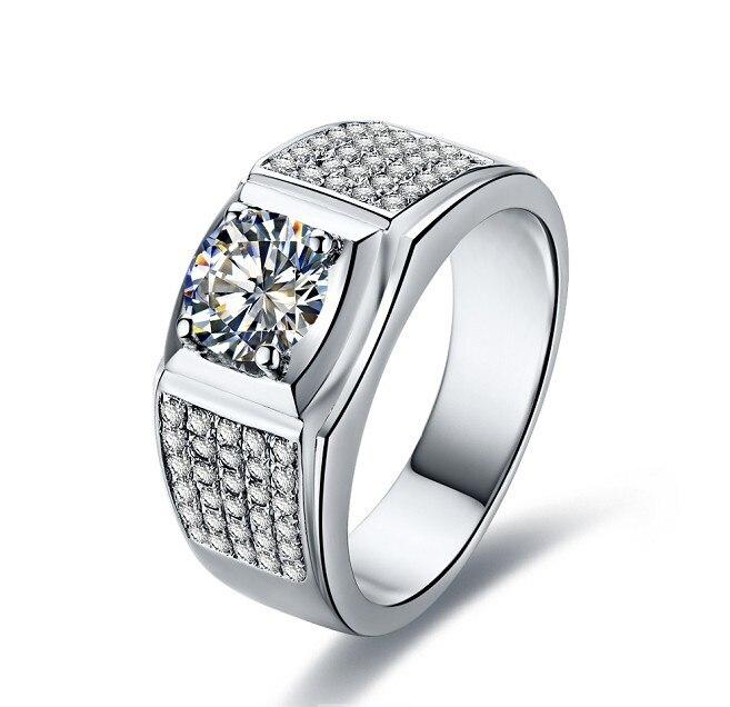THREEMAN 585 Gold Men Synthetic Diamonds Moissanite Semi Mount 1CT Test  Positive 585 White Gold Engagement Ring Husband Jewelry