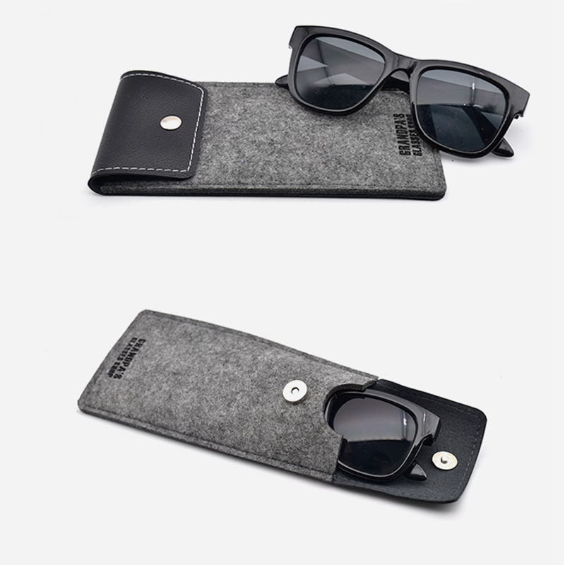 Portable Lightweight Sunglasses Bag Leather Wool Feltbags Eyeglass Cases Spectacle Protector Container Eyeglasses Storage Pouch (51)