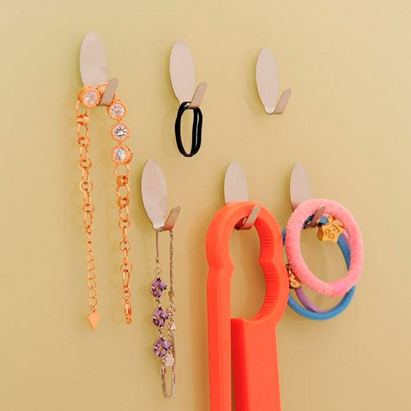 6Pcs Strong Adhesive Hook Good Use Hanger Stainless Steel Home Wall Door Holder Sundries Storage Organization Hooks Rails