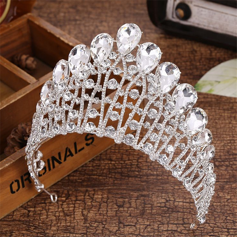 18 Design Crystal Crown Tiara Wedding Hair Accessories Bride Statement Big Prom King Round Elegant Queen Pageant Hair Jewelry trendy silver pearl tiara round wedding big crowns for bride hair accessories crystal inlaid queen crown wedding hair jewelry