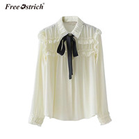 Free Ostrich Chiffon Blouse Women Ruffle Bow Ribbon Pearls Button Blouses 2018 Spring Sexy Long Sleeve