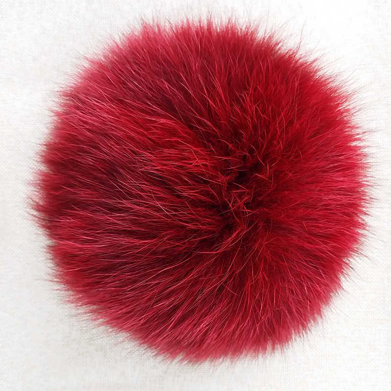 Diy 100% natural de pele de raposa pompon fofo para chapéus de pele de raposa real grande bola pom pom para bonés chapéus skullies 12-13cm