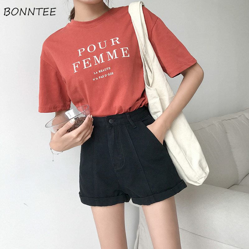 Shorts Women Slim New Fashion Korean Style High Waist Regular Womens Harajuku Solid Casual Zipper Fly Comfortable All-match 2019