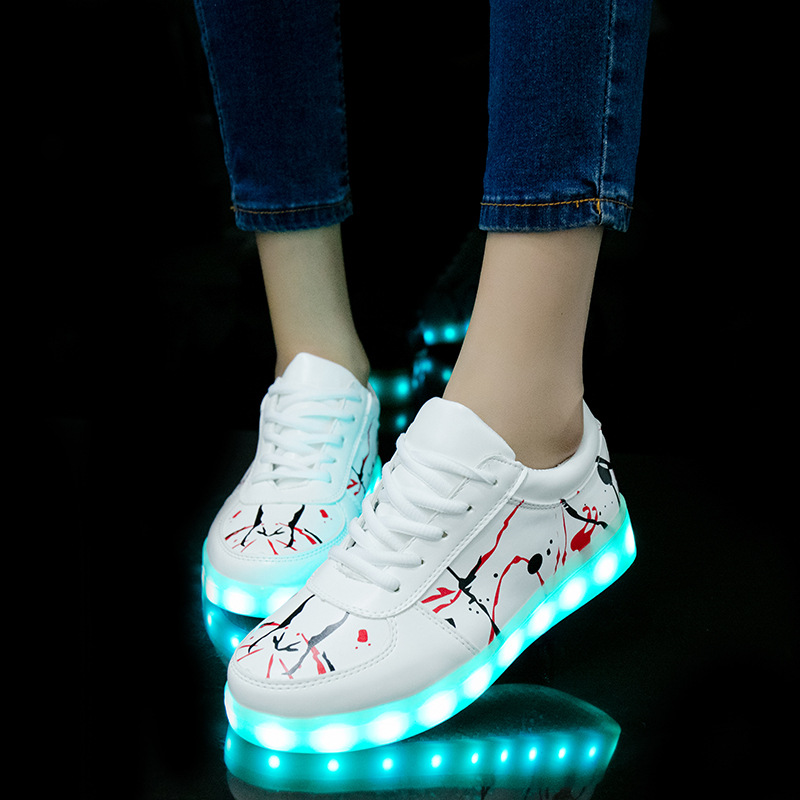 2018 New USB illuminated krasovki luminous sneakers glowing kids shoes children with sole led light up sneakers for girls&boys joyyou brand illuminated kids shoes usb children boys girls glowing luminous sneakers with light up led school footwear teenage