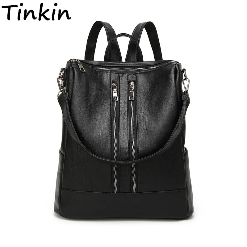 Tinkin PU leather Women Backpack Simple Casual Schoolbag Medium Size Daypack Girl's Daily Bag Vintage Mochila Casual Rucksack 2018 fashion watch men retro design leather band analog alloy quartz wrist watch erkek kol saati