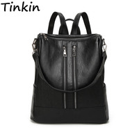 Tinkin PU leather Women Backpack Simple Casual Schoolbag Medium Size Daypack Girl's Daily Bag Vintage Mochila Casual Rucksack