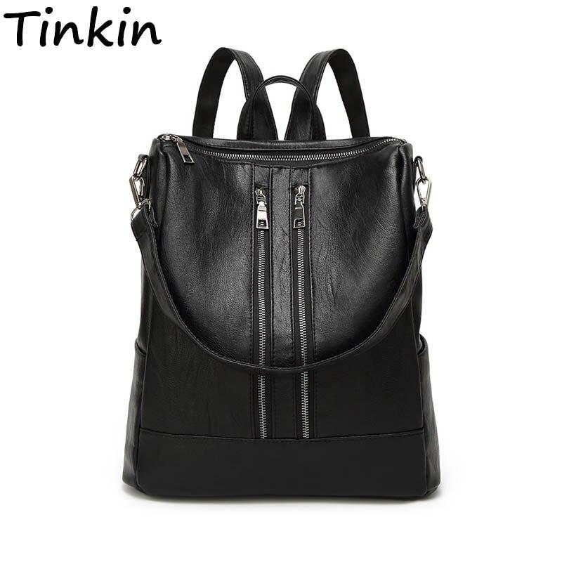 Tinkin PU leder Frauen Rucksack Einfache Casual Schul Medium Größe Daypack Mädchen der Täglichen Tasche Vintage Mochila Casual Rucksack