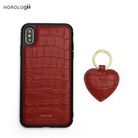 Horologii CUSTOM NAME FREE for iphone X max 7 8 leather case red crocodile pattern and red heart key holder gift box dropship