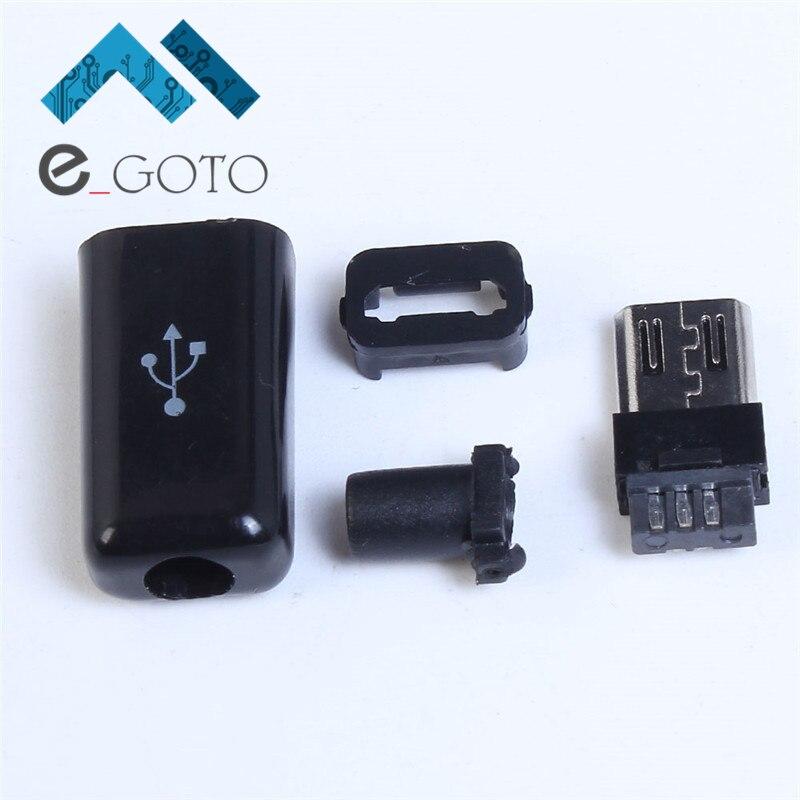 50 шт. Черный Micro USB мужчина 5 P Булавки Micro Интерфейс сварки Тип разъем Зарядное устройство USB 5 Булавки