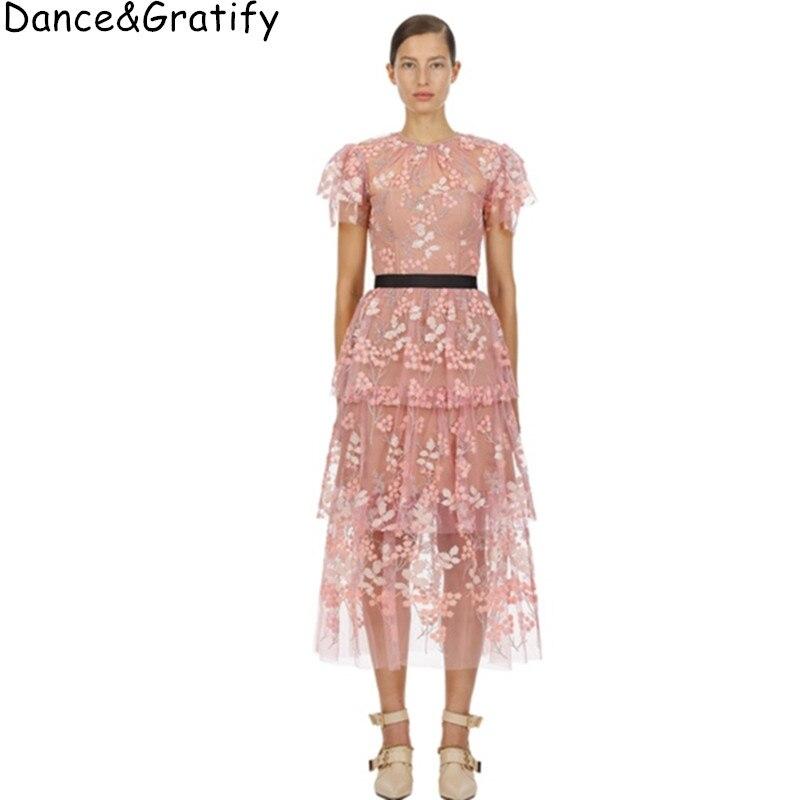 Women Elegant Self Portrait Luxury Fashion Embroidery Flowers Mesh Runway Dresses Brand Summer Party Long Vesti