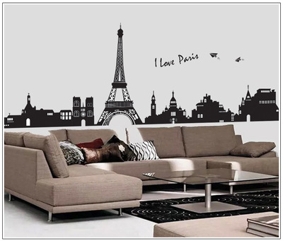 grande de moda extrable diy pars torre eiffel pegatinas de pared para la sala de estar wallpaper urben calcomana decoracin d
