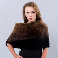 Real Mink Fur Shawls and Scarves Casual Women Winter Scarf 2016 New Shawls Solid Scarves Elegent Genuine Knitted Fur Shawl
