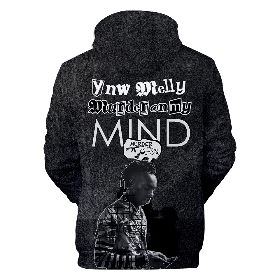 The latest shirt popular singer YNW Melly 3D hooded sweatshirt hip hop  Harajuku men's women's 3D hooded sweatshirt xxs-4xl