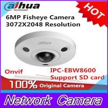 Dahua IPC-EBW8600 6MP 3072X2048 Resolution PoE WDR Panorama 360 Degree Fisheye Dome e-PTZ Network IP Camera support SD card