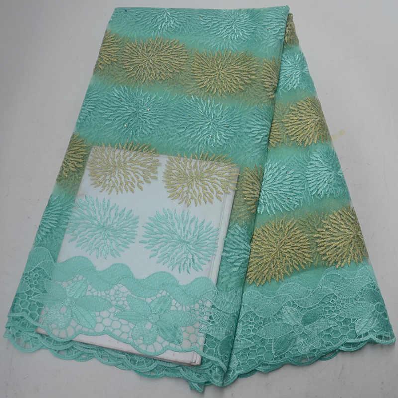 10 色送料無料美しいミントグリーンアフリカフランスのネットレースナイジェリアチュールレース生地刺繍ドレス PL58