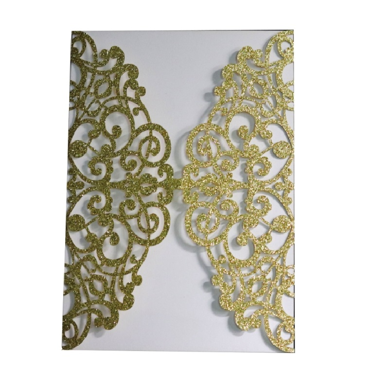 100pcs Gold Glitter Laser Cut Invitations Card Covers Lace Hollow Greeting Cards Invites Party 3 Colors only Invitation covers