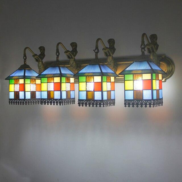 Tiffany LED Bunte Glas Wandleuchten Badezimmerspiegel Toilette Bad  Waschbeckenunterschrank Kosmetikspiegel Lampe 4 Köpfe Wandleuchten