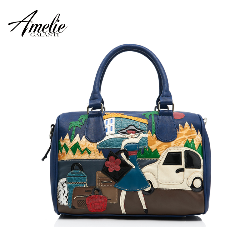 AMELIE GALANTI 2017 new fashion retro bag handmade embroidery car and girl porta
