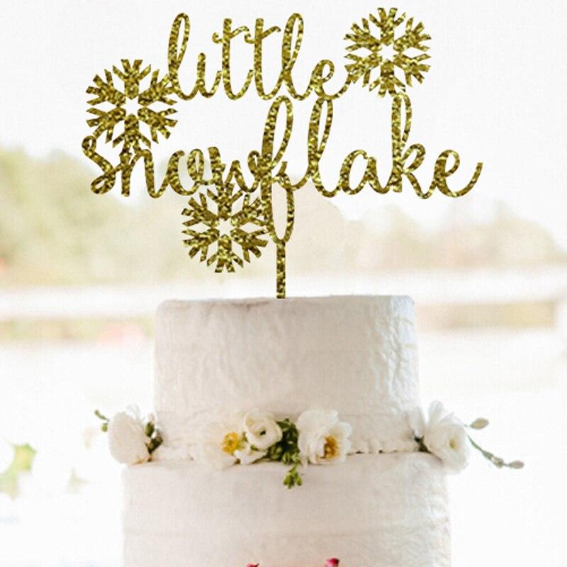 ღ ღGold Little Snowflake Cake Topper Merry Christmas Cake Topper ...