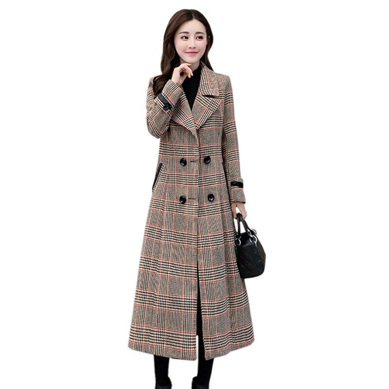 Autumn and winter brand houndstooth women's new high end coat super long paragraph Slim waist temperament woolen coat JQ714