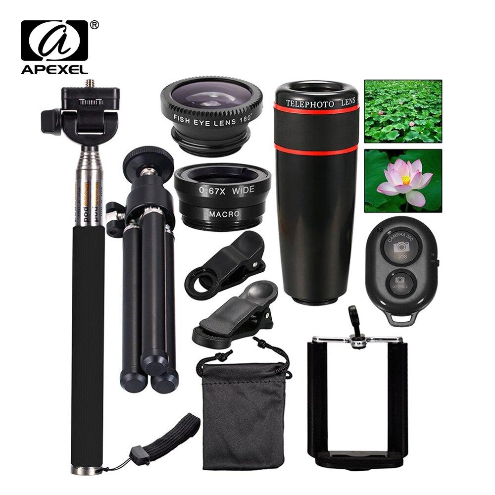 bilder für Mini handy-kamera Lens Kit für iphone und Android Smartphones (telefon objektiv einbeinstativ selbstverschluss tripod) APL-12X10in1