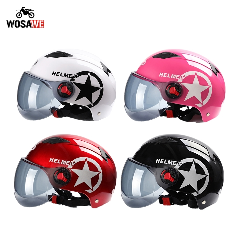 Motorcycle Helmet Open Face Half Baseball Cap Scooter Bike Anti UV Safety Hard Hat Motocross Helmet Multiple Color Head Protect-in Helmets from Automobiles & Motorcycles