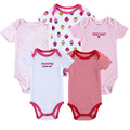 Fashion 2015 5 Pieces/lot Summer Baby Bodysuit Short Sleeve Coveralls Brand 100% Cotton Newborn Baby Clothes