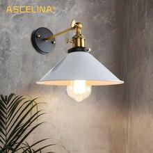 Lámpara de pared vintage, iluminación interior, luz de pared con interruptor de perilla, funda Retro de bloque, blanco y negro, lámparas de cabecera, E27, para el hogar y la tienda
