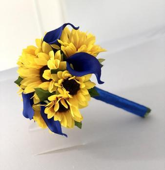Sunflower Bridal Bouquet, And Calla Lily Royal Blue  home decaration