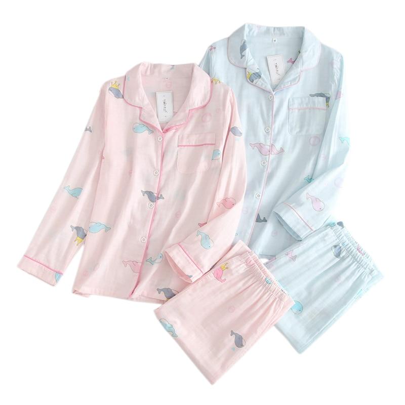 2019 Fresh cartoon 100% gauze cotton   pajama     sets   women summer thin long sleeve casual cozy sleepwear spring women pyjamas