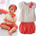 New Kids Baby Girls Cherry Clothes Set Dots T-shirt Tops+Pants 2Pcs Outfits Bow Cotton Clothes Set New!