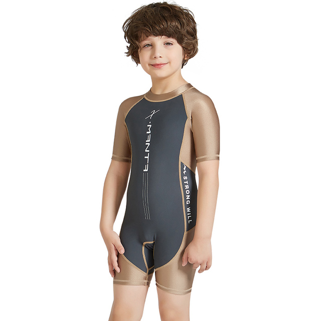 Children Lycra Diving Wetsuits UV Protection Swimsuit One Piece Short Sleeves Surfing Rash Guards Diving Suit for Boys and Girls