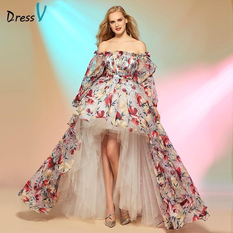 Dressv Prom Dress золушка асимметрия высокий низкий печати с плеча длинные рукава выпускного вечера Dress мода на заказ платья партии
