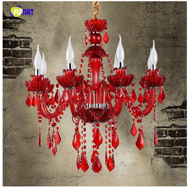 Fumat European Style K9 Red Crystal Chandelier Restaurant Bar Lamp Lights For Living Room Candle