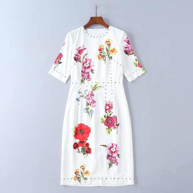 2018 Summer New Short Sleeve Hand Beaded Printing Slim Dress Womens Dress 180417lu05