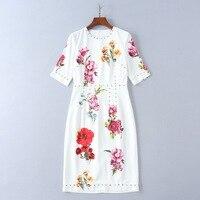2018 Summer New Short Sleeve Hand Beaded Printing Slim Dress Women's Dress 180417lu05