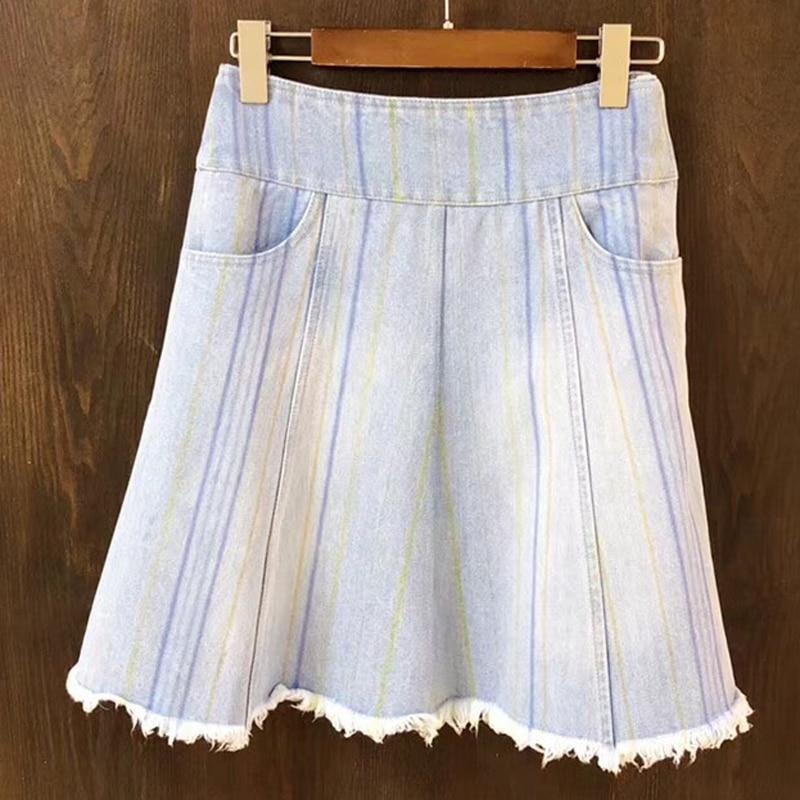 denim skirt women summer 2018 jeans mini skirt sexy high waist skirt with pockets