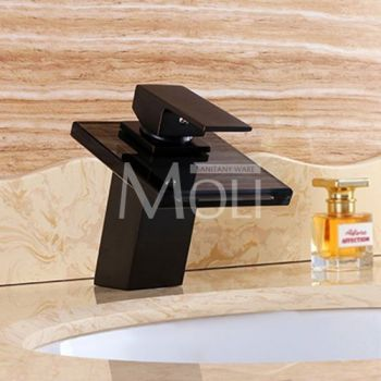 Basin Faucets Bronze Tap Modern Bathroom Sink Waterfall Faucets Mixer Taps Black Single Handle Glass Spout ML8102B 6