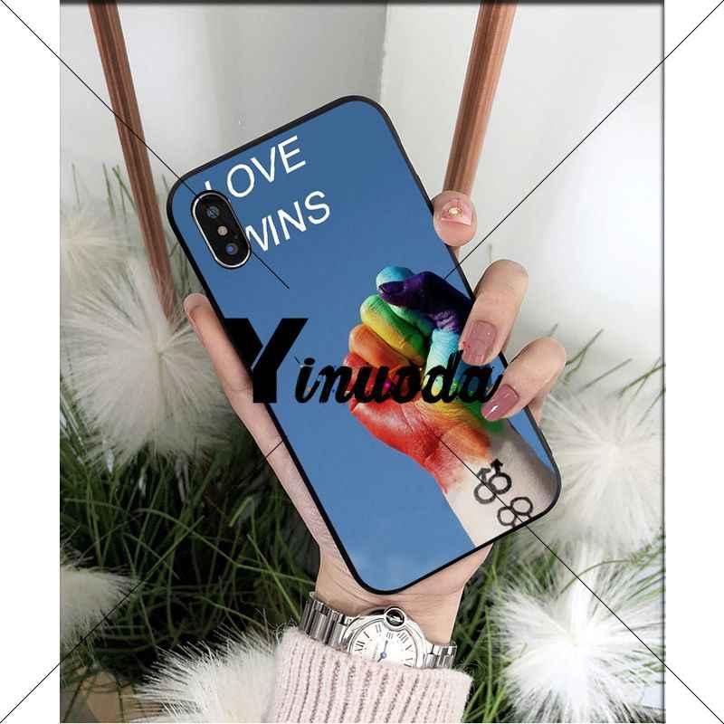 Yinuoda Gay lesbienne LGBT arc-en-ciel fierté noir coque souple téléphone couverture pour iPhone X XS MAX 6 6S 7 7plus 8 8Plus 5 5S XR