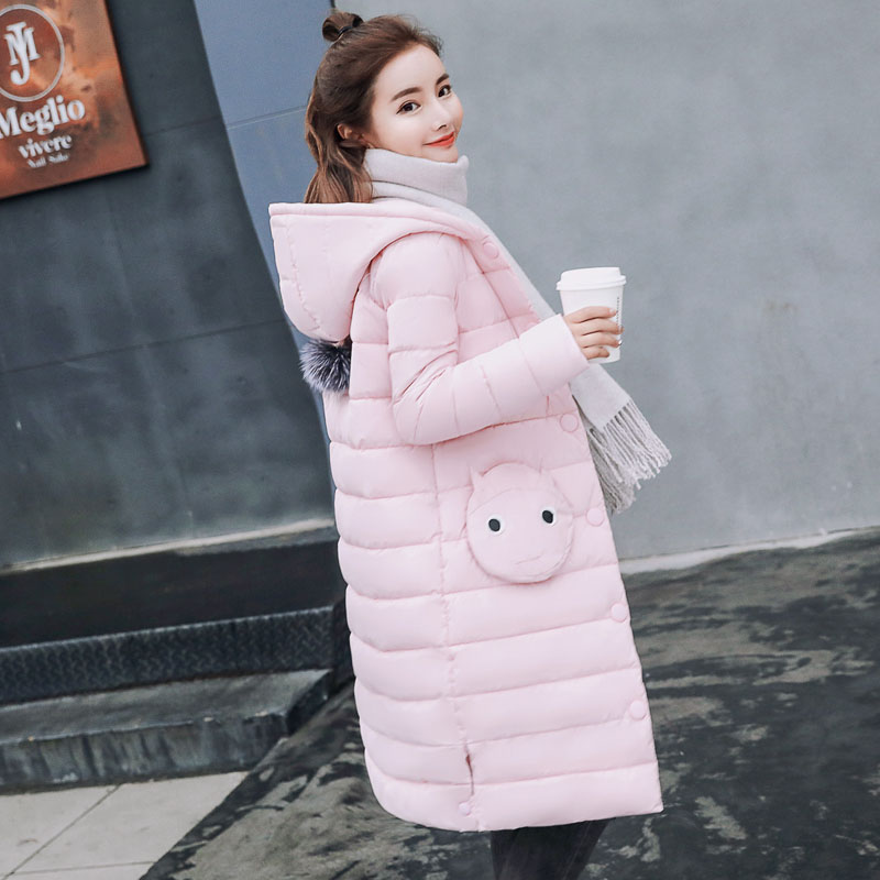 Cute Pockets 2018 Winter Jacket Women Thick Long Women Parkas Hooded Female Outwear Coat Down Cotton Padded Snow Wear Pink Black