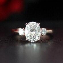 Solid 14K розовое золото 7x9 мм 2.00ct карат Овальный разрезанный муассанит обручальное кольцо Solarite с Круглый Муассанит камень Fow женщин