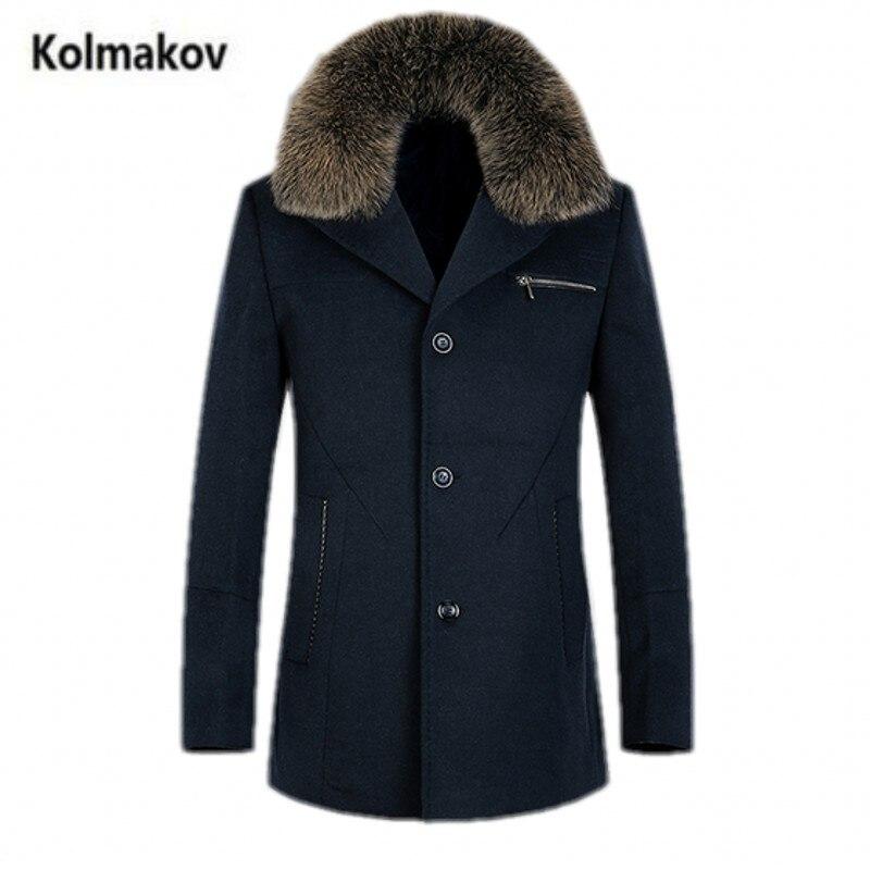 Kolmakov Новинка 2017 зима высокое качество лисий мех воротника Для мужчин Шерсть плащ, Для мужчин Съемная ветровка шерстяное пальто, размер M-3XL.