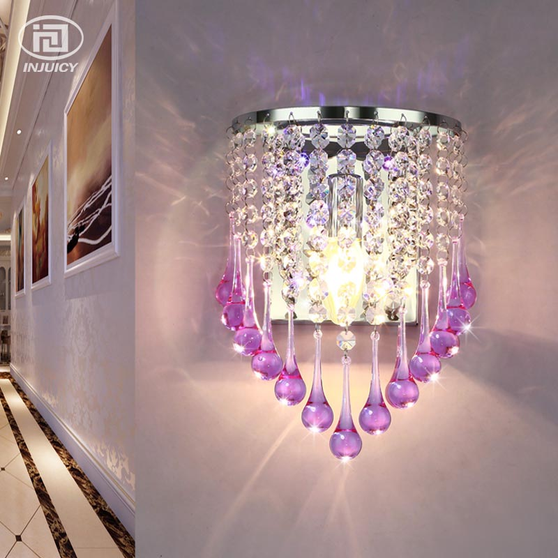 European Style Luxury Acrylic Water Drops E14 LED Wall Lamp Simple Aisle Bedroom Bedside Clear Crystal Decorative Wall Lights european style garden princess bedroom bedside lamp shade cloth fabric floral lace crystal simple dimmable