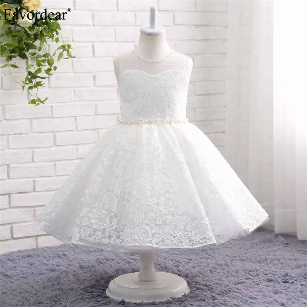 Favordear Kids Pageant   Dress   Lace White Ivory Short Ball Gown   Flower     Girl     Dress   Lace Pearl Waist Fast Shipping