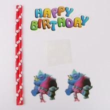 Conjunto Trolls 1 Happy Birthday Cake Topper Queque Crianças Chá de Bebê Aniversário Festa de Casamento Decoração Suprimentos