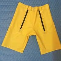 0.4 MM Spessore Giallo Lattice Braghetta degli uomini Pantaloni Corti Lattice di gomma Sexy Stretto Calzoni Posteriore con zip