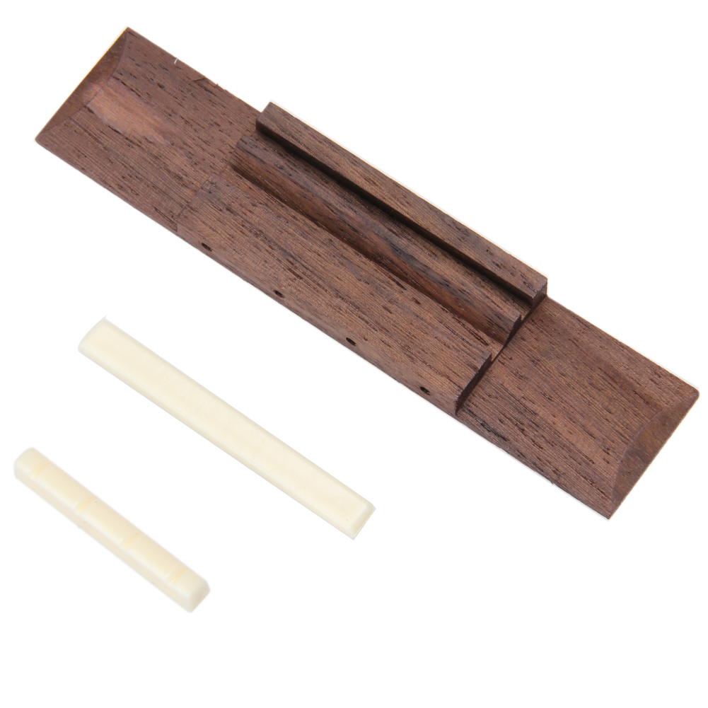 ABS Nut and Saddle Slotted + 110mm Rosewood Bridge for Ukulele Practical Guitar Parts US#V