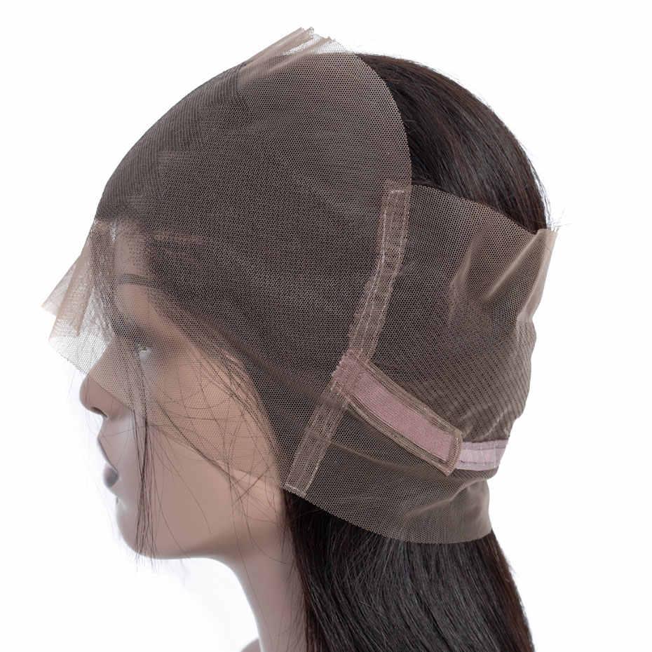 Bling cabelo brasileiro cabelo reto 360 fechamento frontal do laço com o cabelo do bebê pré-arrancado 100% remy fechamento do cabelo humano cor natural